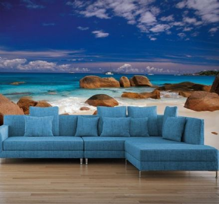 Seychelles sandy beach wall mural